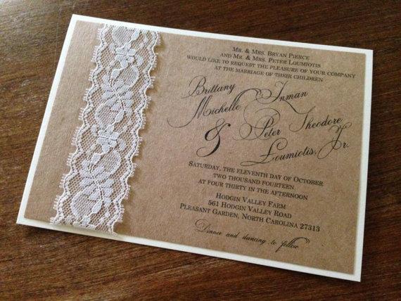 Mariage - Vintage Rustic Kraft Ivory Lace Wedding Invitation with Ivory Backer