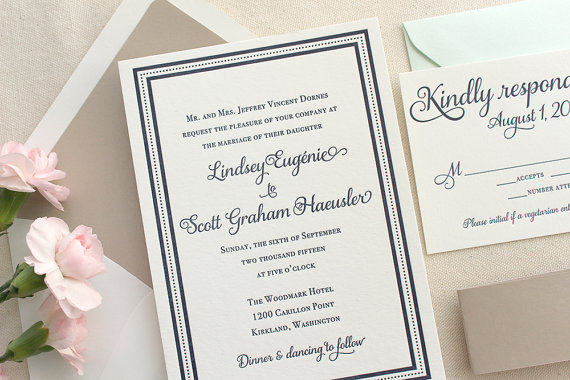 Hochzeit - The English Garden Suite - Classic Letterpress Wedding Invitation Suite with Navy Blue Border, Shimmer Taupe Belly Band, Traditional, Formal