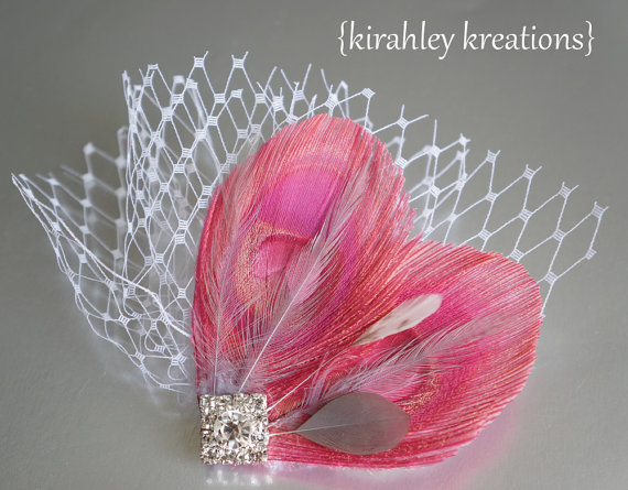Wedding - LESLYNN - Salmon Pink Peacock Feather Rhinestone Wedding Bridal Bride Bridesmaid Hair Clip Headpiece Fascinator Silver Gray Birdcage Veiling