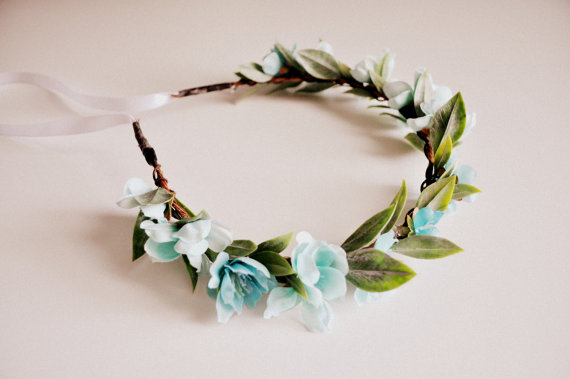 Wedding - Light Blue Wedding Hair Crown, Baby Shower Crown, Flower Headband, Baby Blue Crown