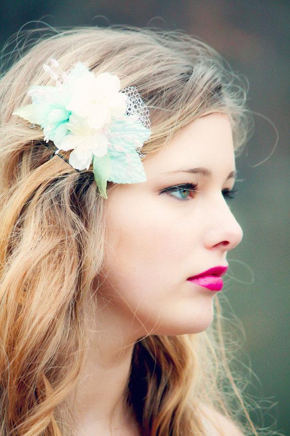 Wedding - flower hair comb, blue flower comb, flower for hair, summer trend