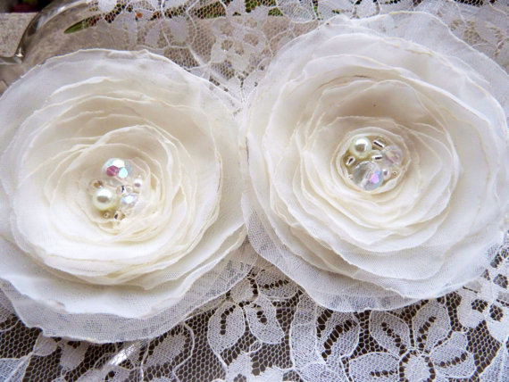 Wedding - White or Ivory Chiffon Wedding Flowers with Iridescent and Pearl Centers, Choose  Brooches, Hairclips, or Appliques