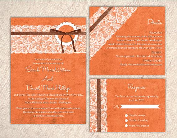 زفاف - Printable Lace Wedding Invitation Suite Printable Invitation Orange Elegant Wedding Invitation Download Invitation Edited jpeg file