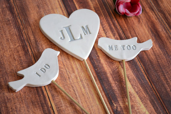 Mariage - PERSONALIZED Heart Wedding Cake Topper with I Do Me Too Birds
