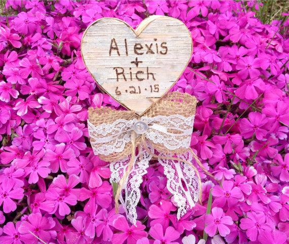 Wedding - Birch bark heart cake topper, or centerpiece, personalized with your names and wedding date.