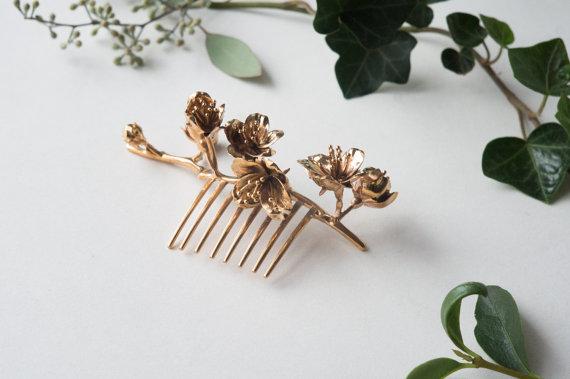Свадьба - Cherry Blossom Hair Comb- 3D Printed Botanical Hair Accessory