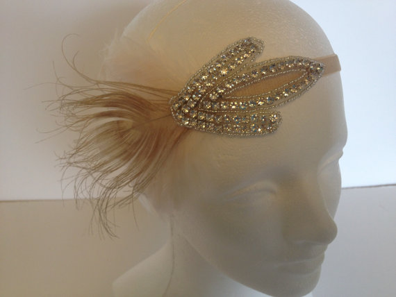 Wedding - Crystal Headband, 20's flapper headpiece, bridal headpiece, flapper gatsby headband, 1920's Rhinestone Flapper headband, 1920s headband