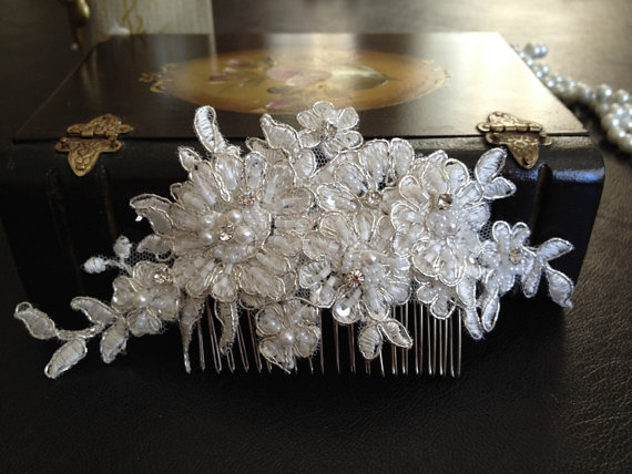 Mariage - Bridal Hair Accessories, Wedding Head Piece, Ivory Beaded Lace, Rhinesone, Comb