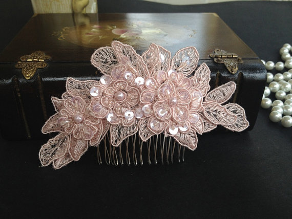 Wedding - Bridal Hair Accessories, Wedding Head Piece, Blush Pink Beaded Lace, Comb