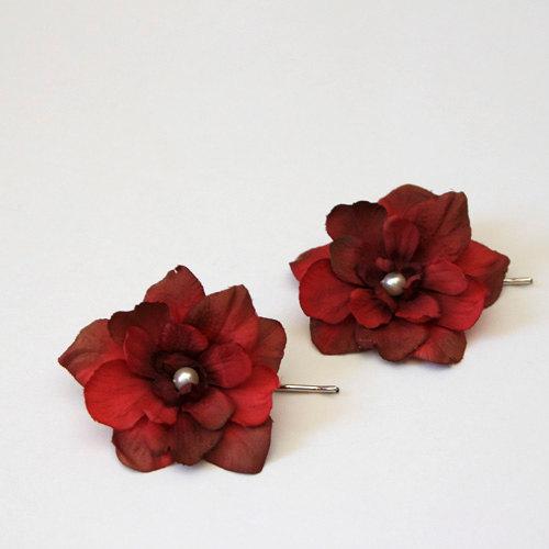 Wedding - Set of 2 burgundy red delphinium flower hair pins, bridal, bridesmaids hair pieces