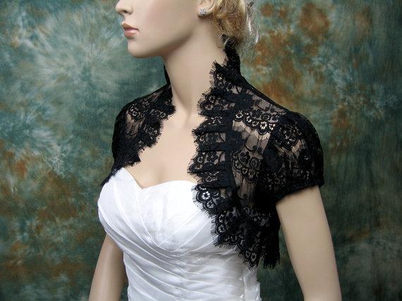 Black lace short sleeve lace bolero jacket lace shrug for Black lace jacket for wedding dress