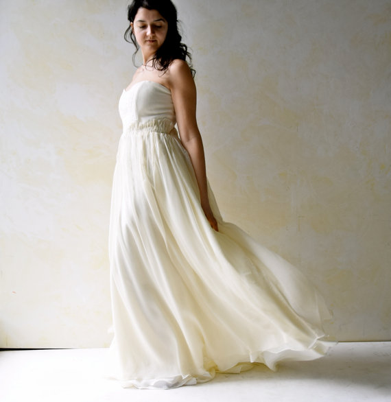 Fairy Wedding Dress Strapless Wedding Dress Wedding Gown Boho