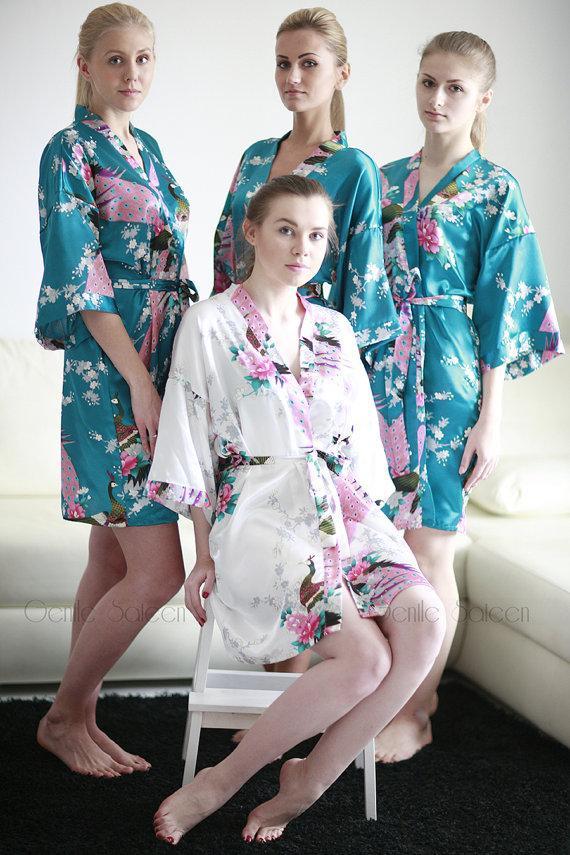 زفاف - Set of 4 Bridesmaid Satin Robes, Kimono Robe, Fast Shipping from New York, Regular and Plus Size Robe