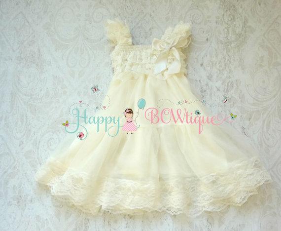 Mariage - Rustic Flower girl dress, Ivory Chiffon Lace Dress Girls Ivory Dress,baby girl Baptism dress, Birthday,Girls fall Country dress, FLOWER GIRL