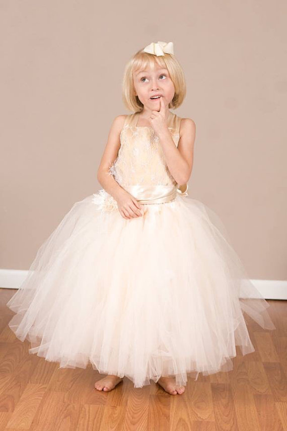 Wedding - Tulle Flowergirl Gown with matching headband