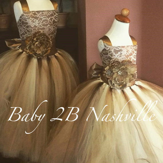 Свадьба - Brown Flower Girl Dress, Vintage Wedding Flower Girl  Dress, Cocoa Satin with Gold Flower Sash Tutu Dress  All Sizes Girls