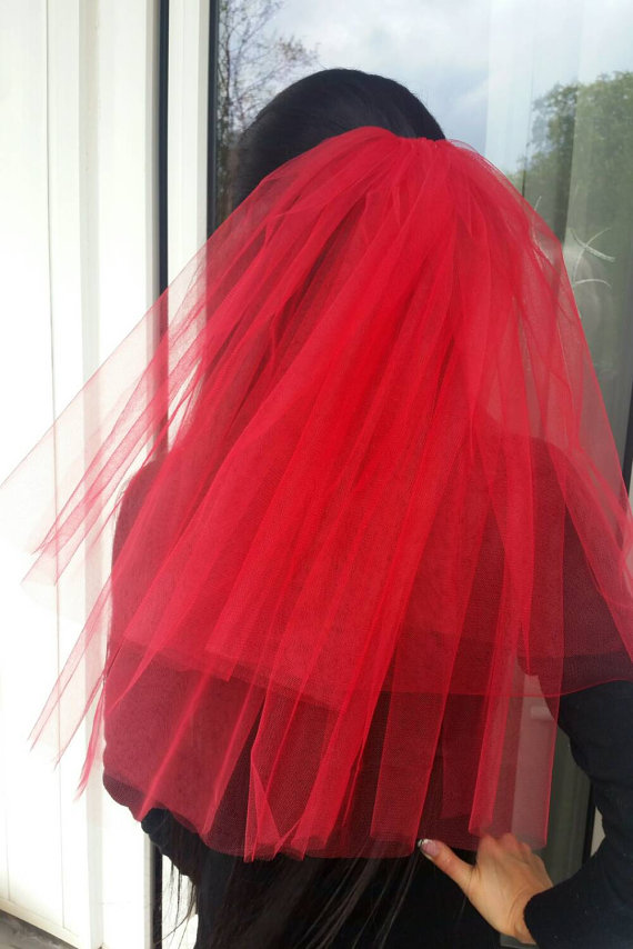 Mariage - Bachelorette party Veil 2-tier red, middle length. Bride veil, accessory, bachelorette veil.