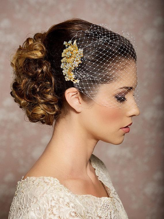 Mariage - Bridal Veil and Gold Bridal Comb, Bandeau Birdcage Veil, Gold Blusher Bird Cage Veil - QUICK SHIPPER - Gold Rhinestone Fascinator Comb