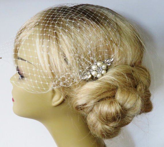 Mariage - Birdcage Veil and a Pearl Hair Comb (2 Items)  Bridal Headpiece Rhinestone Bridal Comb Weddings Blusher Bird Cage Veil