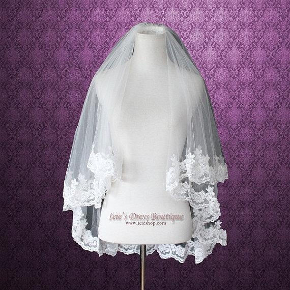 Свадьба - Two Tier Elbow Length Ivory Lace Edge Wedding Bridal Veil with Comb