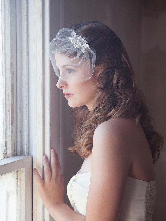 Mariage - ivory birdcage mini veil, bridal veil, tulle birdcage veil, wedding birdcage, bling sparkle veil, crystal cage veil, wedding veil, STYLE 402