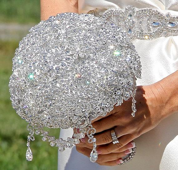 Mariage - Brooch Bouquet, Bridal Bouquet, Wedding Bouquet, Bridesmaids Bouquet, Wedding Brooch, Wedding, Wedding Brooch Bouquet Deposit