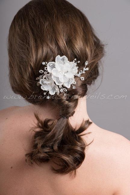 Wedding - Bridal Flower Headpiece, Bridal Rhinestone Hair Comb, Wedding Flower Hair Comb - Rosemary