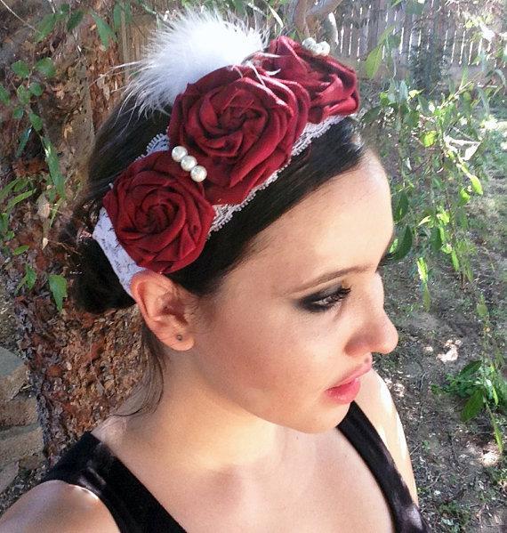 Wedding - Headband Lace Baby Headband Flower Girl Hair Rosette Headband Flower Girl Hair Accessories Lace Headband Wedding Hair Photo Prop
