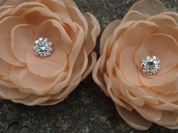 Mariage - Peach Pale Orange Coral Colored Flower Hair Pins - Brooches - Shoe Clips Set of 2