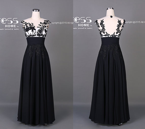 زفاف - Impressive Black Appliques Chiffon Prom Dress/ Sexy See Through Party Dress/Long Beading Prom Dress/Formal Dress/Black Evening Dress DH312