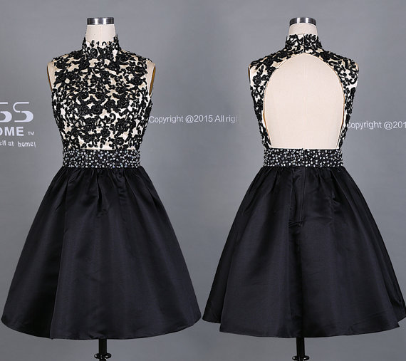 زفاف - Impressive Black High Collar Beading Short Homecoming Dress/Black Lace Homecoming Dress/Short Party Dress/KeyHole Back Short Prom DressDH469
