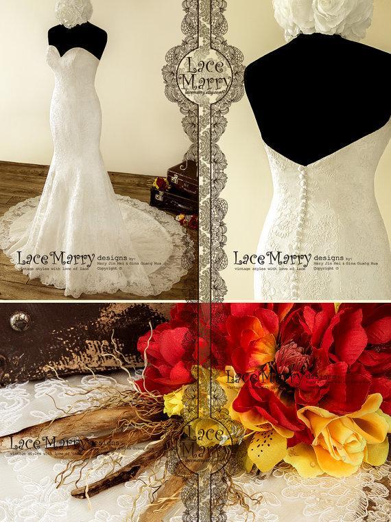 زفاف - Double Layer Lace Wedding Dress in Trumpet Style with Strapless Sweetheart Neckline and V Cut Back Featuring Satin Buttons and Chapel Train