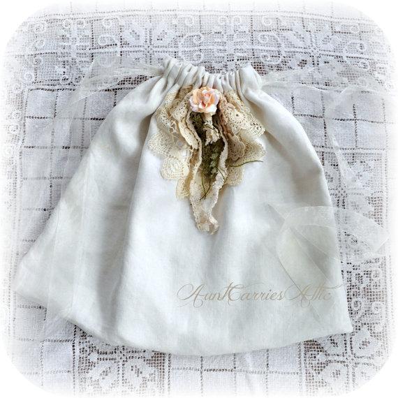 "Mariage - Bridal Shoe Bag Bridal Lingerie Bag Jewelry Bag  Fabric Gift Bag Keepsake 21"" x 17"" Vintage Linen Lined"