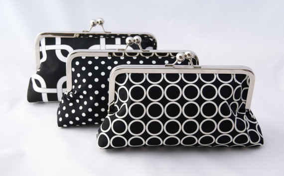 Mariage - Bridesmaids Clutches in Black and White Handbag Custom Made Design Your Own for Bridesmaids Gift or custom gift