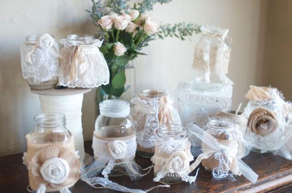 Mariage - Vintage Table Decorations- Set of 10 Burlap and Cream Mason Jars by Burlap and Linen Co