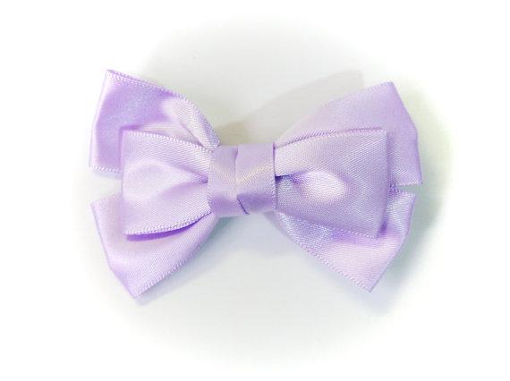 Mariage - SALE 50% OFF Small Light Purple Lavender Satin Ribbon Bow Hair Clip