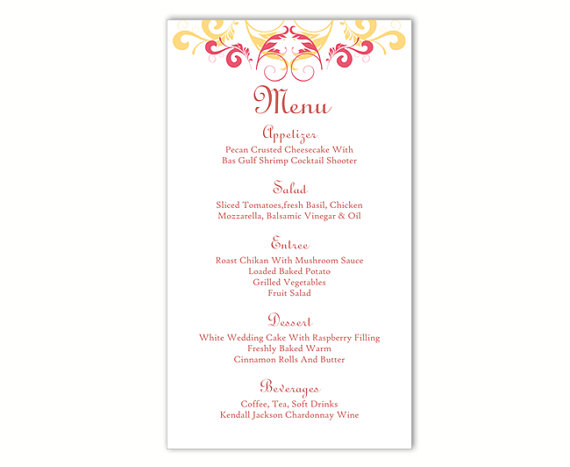Mariage - Wedding Menu Template DIY Menu Card Template Editable Text Word File Instant Download Yellow Menu Pink Menu Template Printable Menu 4x7inch