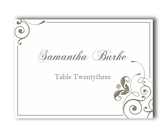 Place cards wedding place card template diy editable for Table placement cards templates