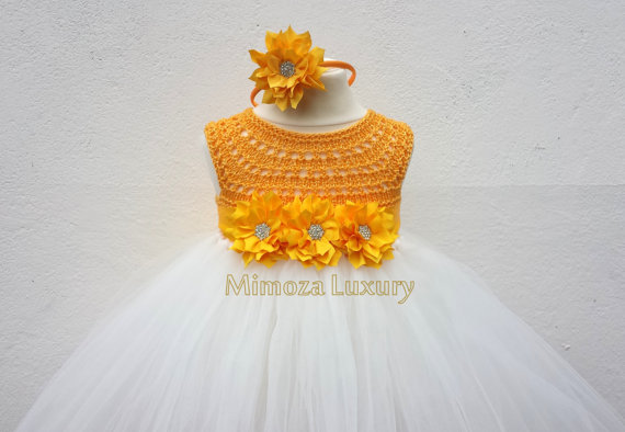 Düğün - Yellow Daffodil Flower girl dress, tutu dress bridesmaid dress, princess dress, silk crochet top tulle dress Daffodil dress in yellow