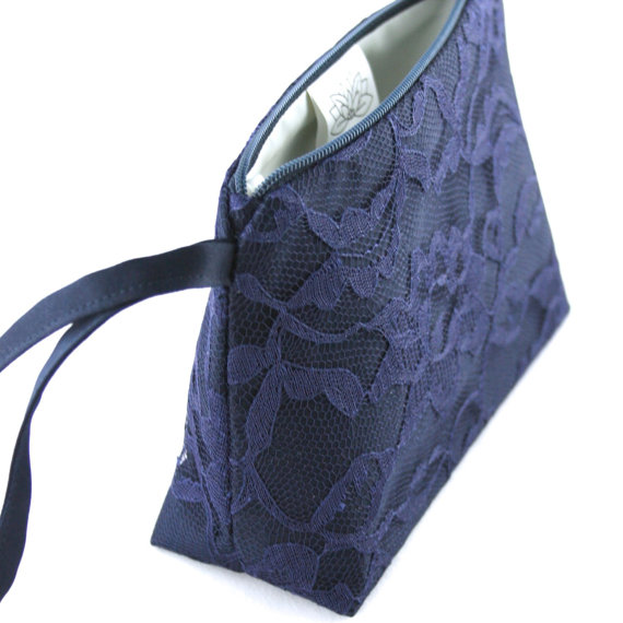 Mariage - Navy Satin and Lace Bridesmaid Gift Clutch Wristlet (Wedding Accessory, Something Blue, Cosmetic / Makeup Bag, Purse)