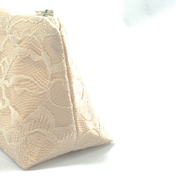 زفاف - Lace Bridesmaid Gift Champagne & Ivory Wedding Cosmetic Bag Clutch