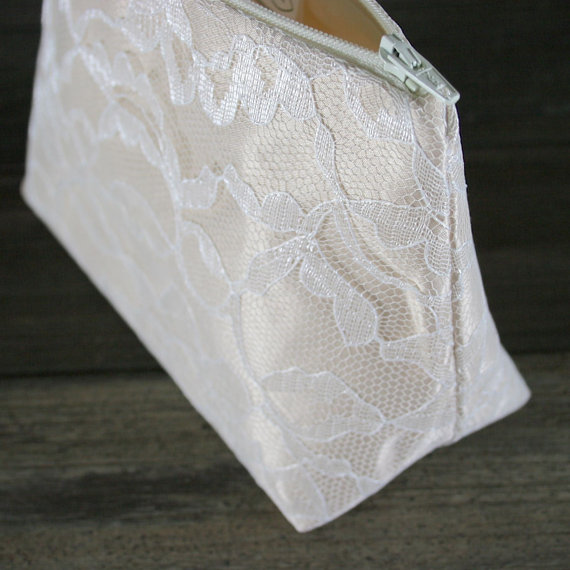 Mariage - Lace Bridesmaid Gift in Champaign Satin & Ivory Lace: (Wedding Cosmetic Bag, Bride's Purse / Clutch)