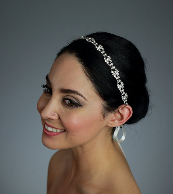 Mariage - Bridal Rhinestone Headband Attached to a Pure Silk Ribbon in Ivory, White, or Black - Ready to ship in 3-5 days