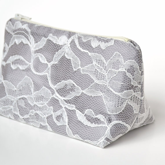 Mariage - Gray Winter Wedding Bridesmaid Gift in Satin and Ivory Lace, Cosmetic Bag