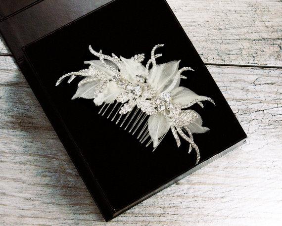 Hochzeit - Rhinestone Hair Comb, Crystal Bridal Hair Comb, Wedding Hair Comb, Bridal Headpiece, Leaf Hair Comb, Fabric Hair Comb, Flower Hair Comb