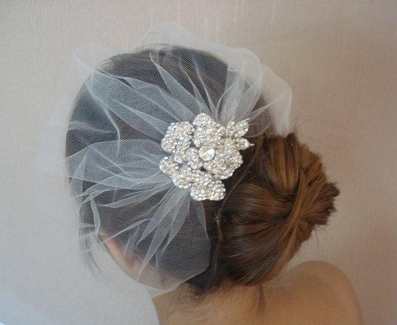 Wedding - Wedding Tulle Detachable Birdcage Veil with Rhinestone Flower - Ships in 1 Week