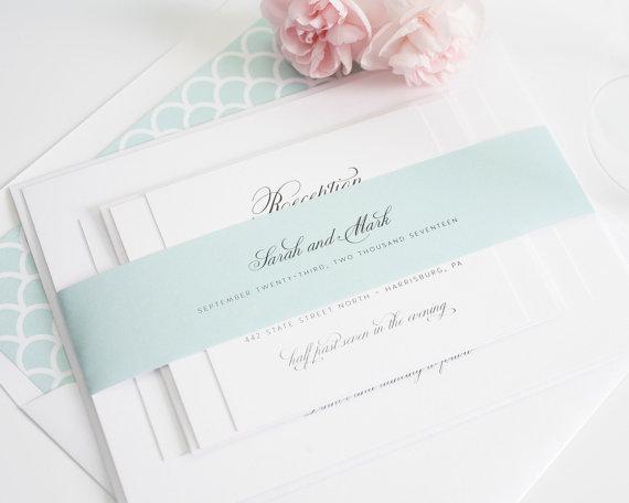 Mint Wedding Invitation Mint Script Classic Elegant Wedding