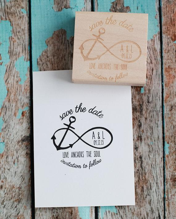"Mariage - Custom Save the Date Wedding Rubber Stamp - Infinity Anchor with ""Love Anchors the Soul"" quote"