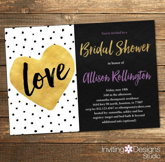 black gold purple bathroom love bridal shower invitation wedding shower polka dots gold heart