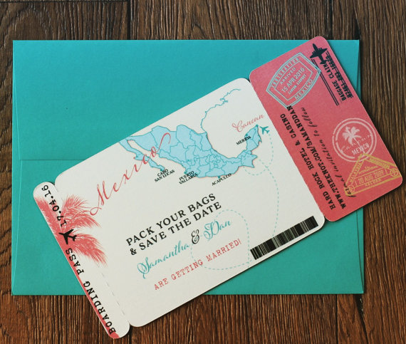 Boarding Pass Magnet Save The Date Mexico Map Destination